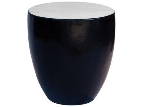 Seasonal Living Gloss Creamy White and Matte Java Black Ceramic Palau 23'' Wide Round Drum Table