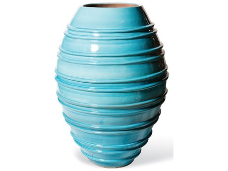 Seasonal Living Helter Skelter Turquoise Blue Ceramic Vase PatioLiving