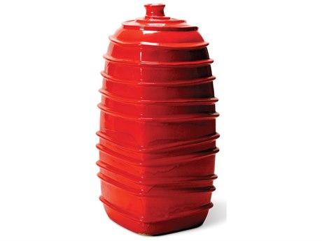 Seasonal Living Red Ceramic Ribbed Square Bottom Jar