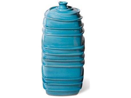 Seasonal Living Turquoise Blue Ceramic Ribbed Square Bottom Jar