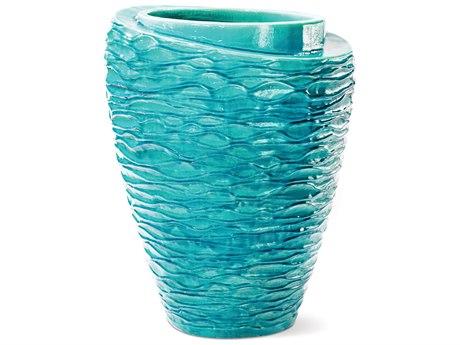 Seasonal Living Tranche Ceramic Aquamarine Vase PatioLiving