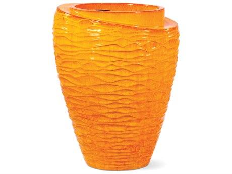 Seasonal Living Tranche Orange Ceramic Vase