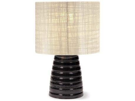 Seasonal Living Inda Ribbon Cordless Outdoor Ceramic Gloss Black LED Table Lamp