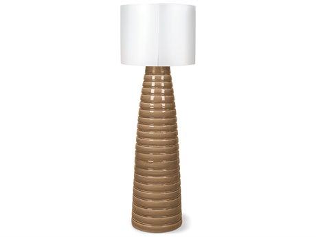 Seasonal Living Inda Ribbon Cordless Outdoor Ceramic Turquoise Blue LED Floor Lamp