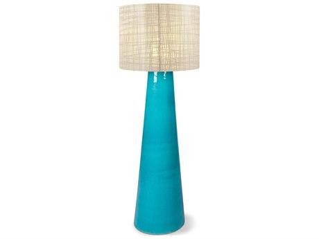 Seasonal Living Inda Copenhagen Cordless Outdoor Ceramic Turquoise Blue LED Floor Lamp