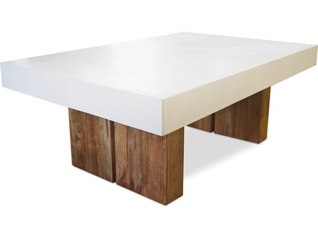 Seasonal Living Perpetual Ivory White Concrete Samos 48''W x 32''D Rectangular Coffee Table SEA501FT042P2W