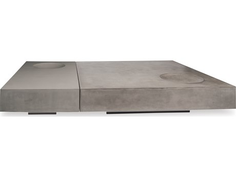 Seasonal Living Perpetual Slate Gray Concrete Twins 59W x 39D Rectangular Coffee Table SEA501FT044P2GL