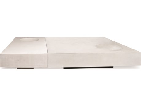 Seasonal Living Perpetual Ivory White Concrete Twins 59W x 39D Rectangular Coffee Table SEA501FT044P2WL