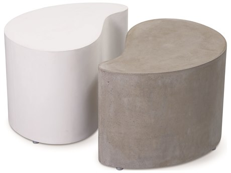 Seasonal Living Perpetual Ivory White and Slate Gray Concrete Paired 21''W x 16''D Rectangular Accent Tables SEA501FT129P2G