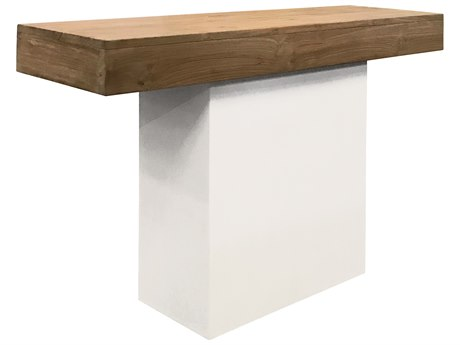 Seasonal Living Perpetual Ivory White Concrete Sumatra 49''W x 15''D Rectangular Console Table SEA501FT168P2W