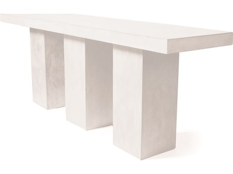 Seasonal Living Perpetual Ivory White Concrete Super Kos 119''W x 31.5''D Rectangular Bar Table SEA501FT179P2W