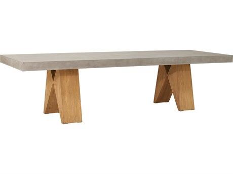 Seasonal Living Perpetual Teak Concrete Slate Grey Clip 118''W x 38''D Rectangular Dining Table