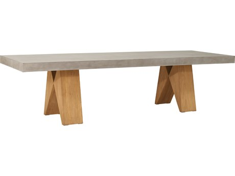 Seasonal Living Perpetual Teak Concrete Slate Grey Clip 86''W x 35''D Rectangular Dining Table