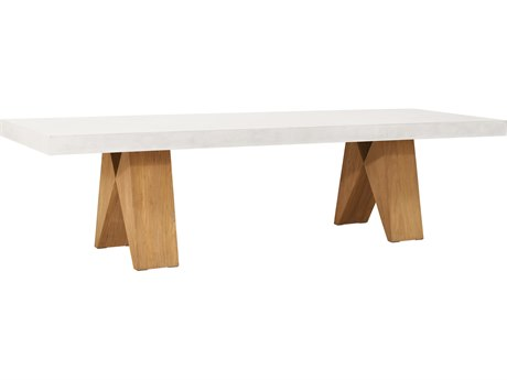 Seasonal Living Perpetual Teak Concrete Ebony White Clip 87''W x 35''D Rectangular Dining Table