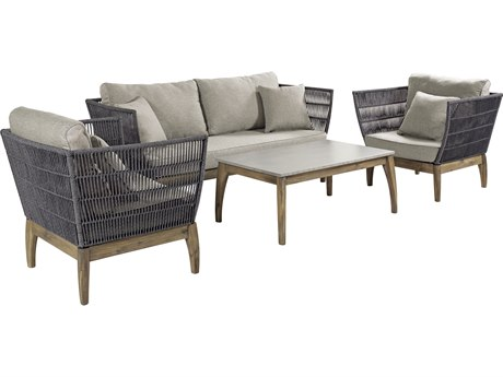 Seasonal Living Explorer Mixed Gray Acacia Wood Wings 4 Piece Lounge Set