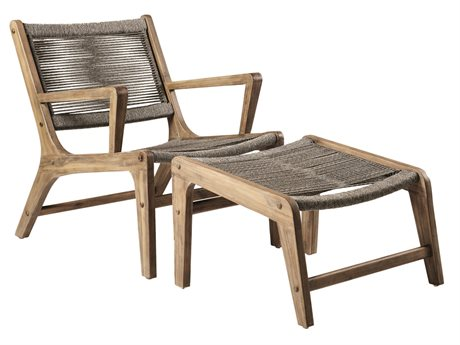 Seasonal Living Explorer Mixed Gray Acacia Wood Oceans Lounge Chair and Ottoman