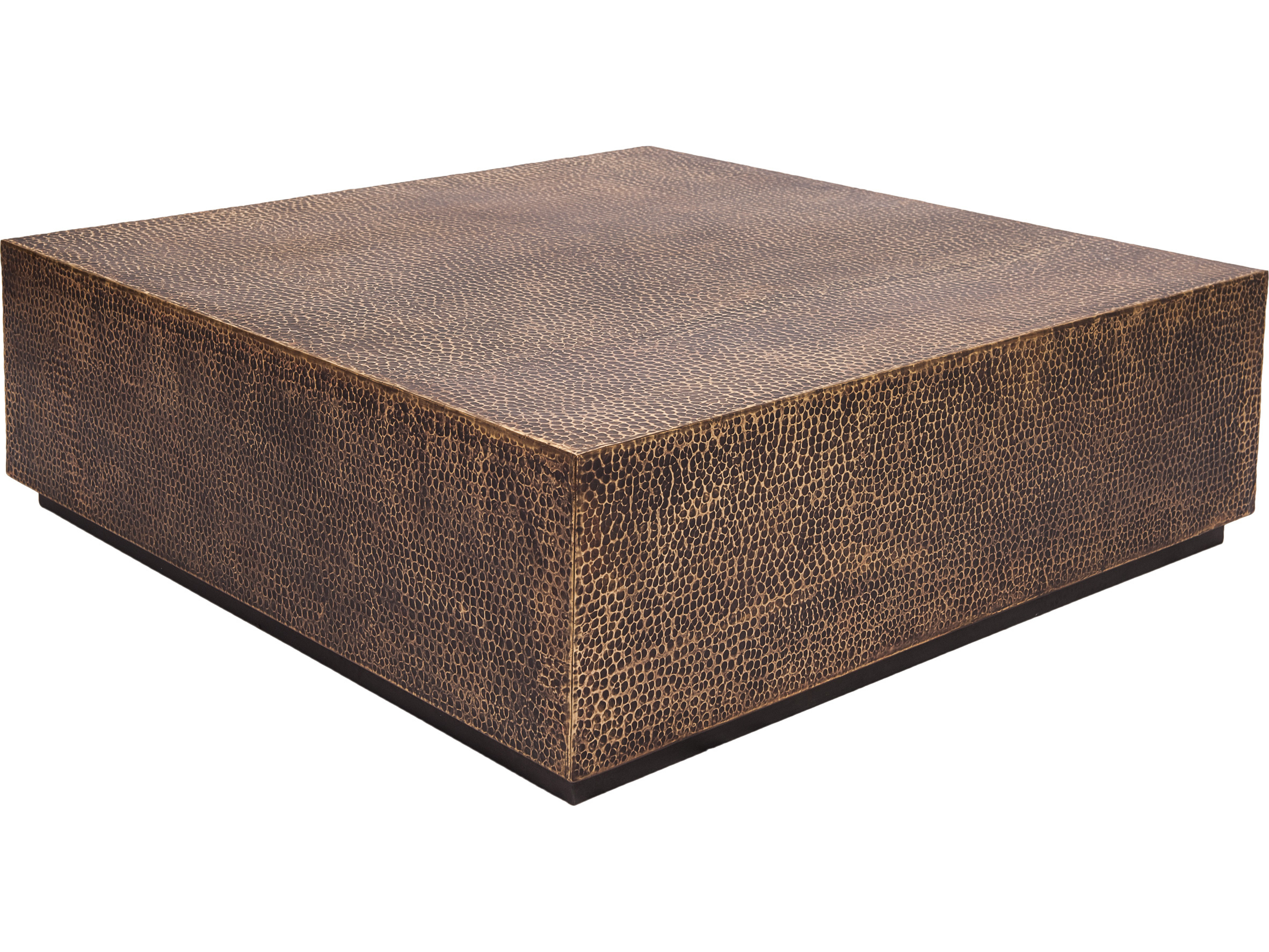 Seasonal Living Ingot Aged Bullion Hand Hammered Copper Molten 40 Square Wide Coffee Table
