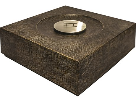 Seasonal Living Ingot Aged Bullion Hand hammered Copper Inca 40'' Wide Square Super Bio Fuel Fire Table