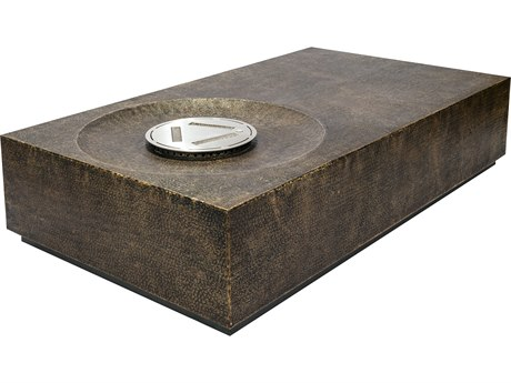 Seasonal Living Ingot Aged Bullion Hand hammered Copper Byzantine 40'' Wide Square Super Bio Fuel Fire Table
