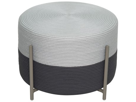 Seasonal Living Archipelago Light Gray Steel Society Lily Pad Small Ottoman Set (Price Includes 2) SEA620FT009P2LGDP