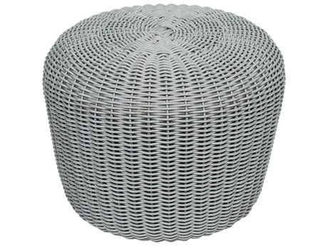 Seasonal Living Archipelago Dove Gray Wicker Leeward Coco De Mer Ottoman Set (Price Includes 2) SEA620FT011P2D