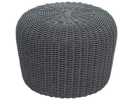Seasonal Living Archipelago Dark Pebble Gray Wicker Leeward Coco De Mer Ottoman Set (Price Includes 2) SEA620FT011P2P