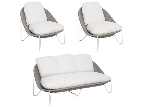 Seasonal Living Archipelago Coconut White Steel Aegean Furniture Group Set (Price Includes 3) SEA620FT023P2CWTG
