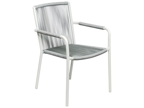 Seasonal Living Archipelago Coconut White Aluminum Stockholm Dining Armchair Set (Price Includes 2)