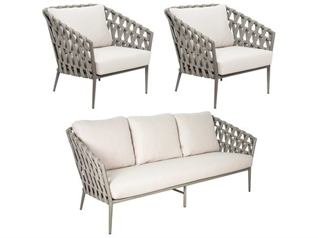 Seasonal Living Archipelago Aluminum Light Gray 3 Piece Lounge Set