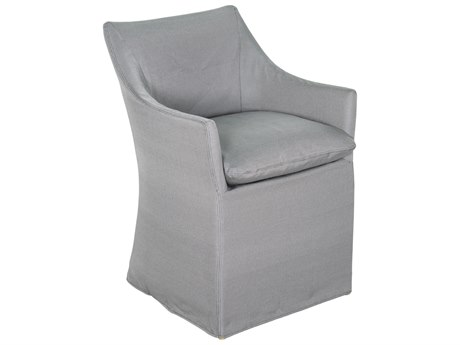 Seasonal Living Capri Aluminum Brown Beach Dining Chair Set in Slate Gray Slipcover (Price Includes 2)