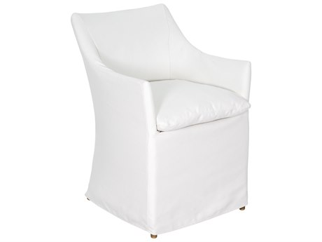 Seasonal Living Capri Aluminum Brown Beach Dining Chair Set in Glacier White Slipcover (Price Includes 2)