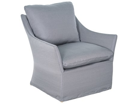 Seasonal Living Capri Aluminum Brown Beach Lounge Chair in Slate Grey Slipcover