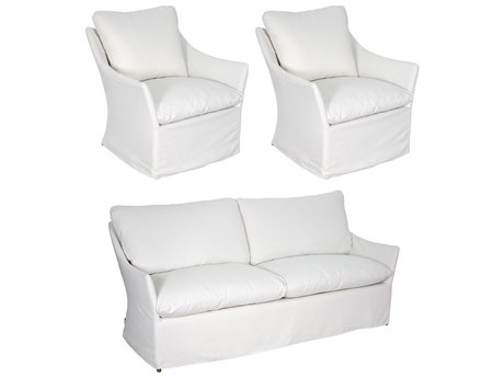 Seasonal Living Capri Aluminum Brown Beach 3 Piece Lounge Set in Glacier White Slip Cover PatioLiving