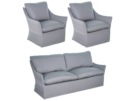 Seasonal Living Capri Aluminum Brown Beach 3 Piece Lounge Set in Slate Grey Slip Cover PatioLiving