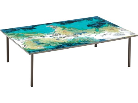 Seasonal Living Etna Ocean Collision Steel 47''W x 31.5''D Rectangular Coffee Table