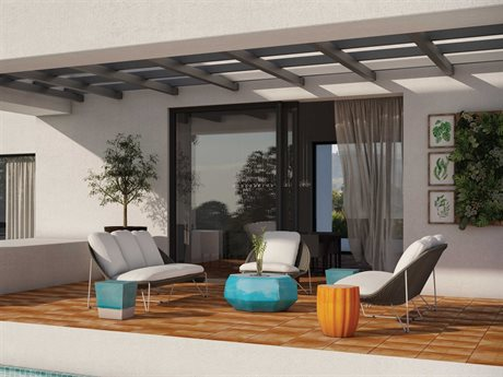 Seasonal Living Archipelago Coconut White Steel Aegean Lounge Set PatioLiving