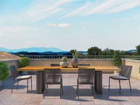 Seasonal Living Archipelago Dark Gray Aluminum Stockholm Dining Set PatioLiving