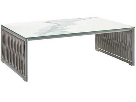 Sifas Basket Marble / Matte Grey 43'' Wide Aluminum Rectangular Ceramic Patio Coffee Table