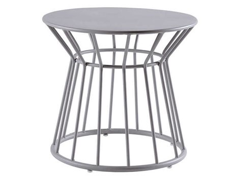Sifas Basket Mat Grey 23'' Wide Aluminum Round End Table PatioLiving