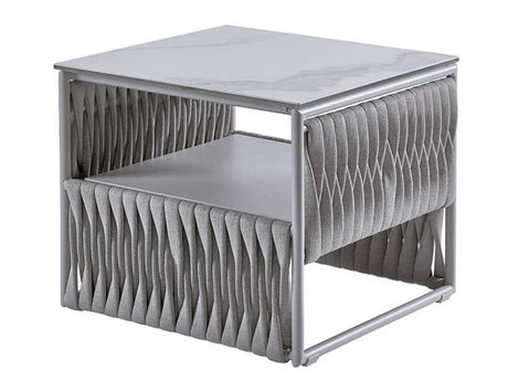Sifas Basket Mat Grey 26'' Wide Aluminum Square Metal Patio End Table