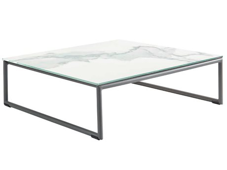 Sifas Kalife Marble / Matte Grey 35'' Wide Aluminum  Square Ceramic Patio Coffee Table
