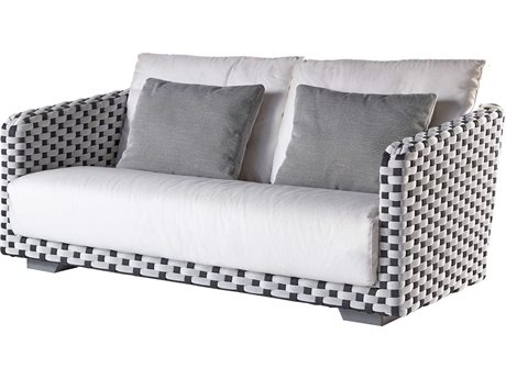 Sifas Riviera Black / White Fabric Cushion Sofa