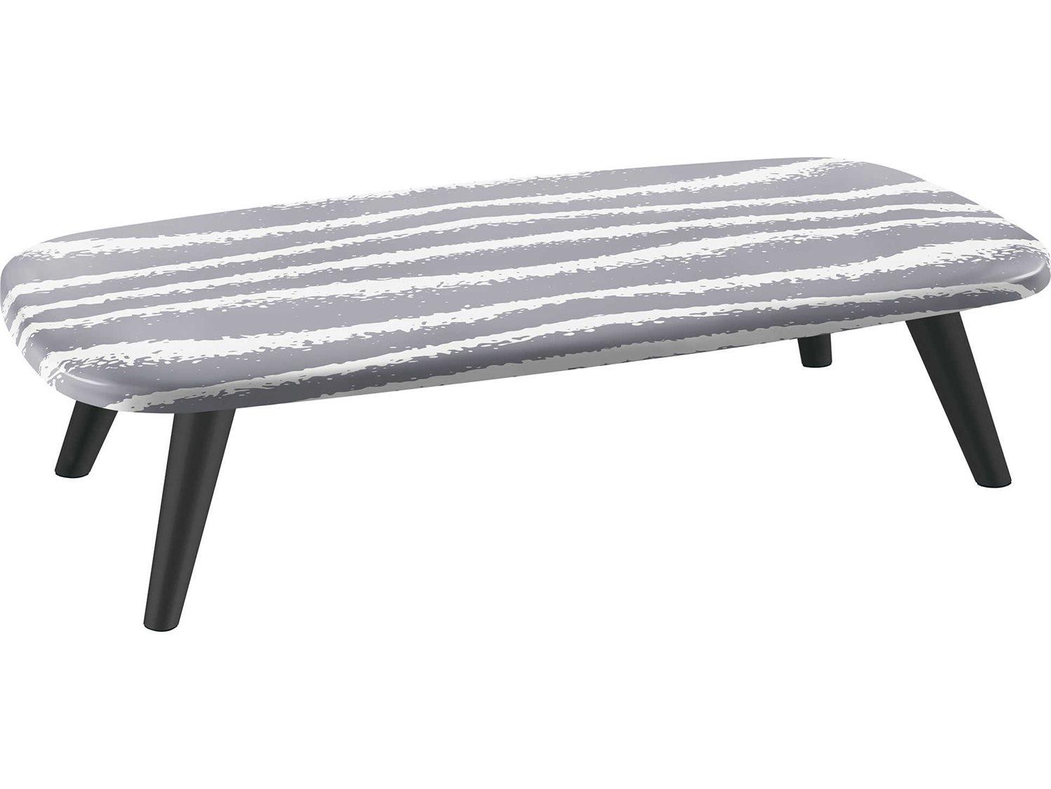 Sifas Riviera Grey White 59 Wide Aluminum Rectangular Coffee Table Sfarira26