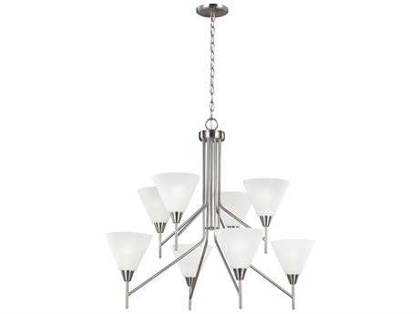 Sea Gull Lighting Ashburne Brushed Nickel Eight-Light 34'' Wide Chandelier