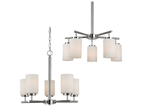 Sea Gull Lighting Oslo Chrome Five-Light 24'' Wide Fluorescent Mini-Chandelier