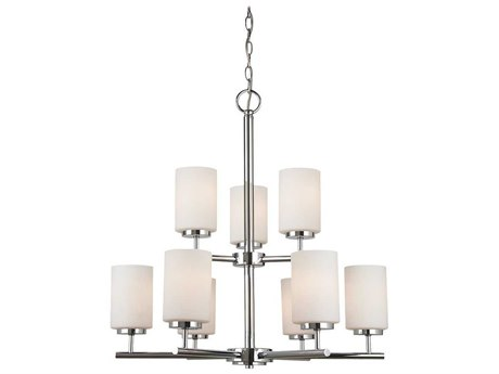 Sea Gull Lighting Oslo Chrome Nine-Light 26'' Wide Fluorescent Chandelier