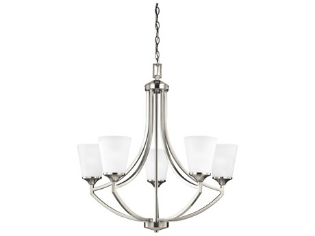 Sea Gull Lighting Hanford Brushed Nickel Five-Light 27.63'' Wide CFL Chandelier with Satin Etched Glass