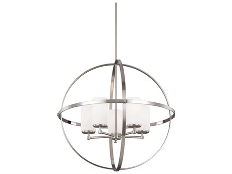 Sea Gull Lighting Alturas Brushed Nickel Five-Light 27'' Wide CFL Chandelier with Etched / White Inside / Galvanized Steel