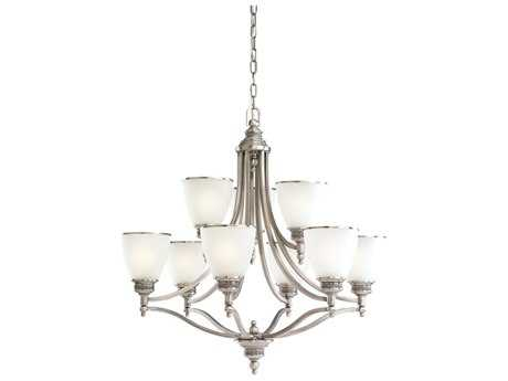 Sea Gull Lighting Laurel Leaf Antique Brushed Nickel Nine-Light 29.5'' Wide Chandelier