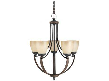 Sea Gull Lighting Corbeille Stardust & Cerused Oak Five-Light 22.75'' Wide Chandelier
